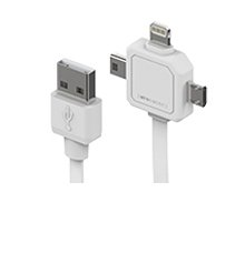 Allocacoc Power USB kaapeli, Lightning, Micro-USB ja Mini-USB